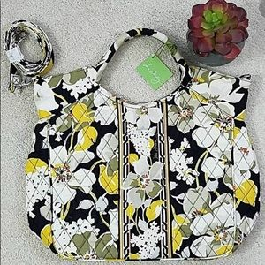 Vera Bradley Bag Dogwood Two Way Tote Black Yellow